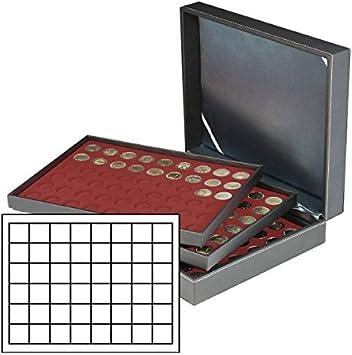 Lindner 2365-2748E Estuche monedas NERA XL para 144 placas de cava - rojo oscuro: Amazon.es: Juguetes y juegos