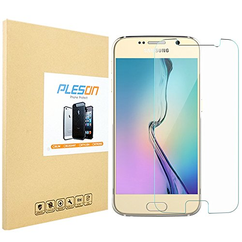 Price comparison product image PLESON Tempered Glass Screen Protector for Samsung Galaxy S6 - Extreme Clarity & Smooth, High Touch Responsive Shield, Maximum Screen Protection From Drops, Scratch. Anti-fingerprint, Water & Oil Resistant - in Retail Packing [Lifetime Warranty]