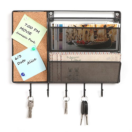 Black mesh metal wall mounted storage rack hanging mail for Wall mail organizer with cork board