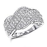 Luxurman Ladies 14K Natural 1.3 Ctw Diamond Swirl Ring (White Gold Size 7.5)