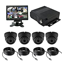 TrackSec 4 Channel AHD 720P H.264 Mobile DVR Recorder Car Black Box Kit Support GPS 3G Real-time Monitoring G-sensor - 4 Weatherproof Metal Case Dome Cameras, 7 inch Car Monitor and More
