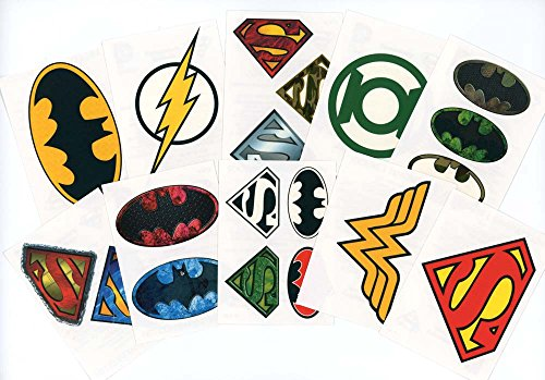 DC Comics Logo Temporary Tattoos (Set of 10 Sheets)(Includes Superman Wonder Woman, Batman, Green Lantern, and The -
