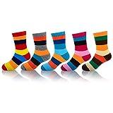 MOGGEI Unisex Kids Toddler Child Warm Fuzzy Soft Thick Winter Socks 5 Pairs (4-6 Years, Stripes)