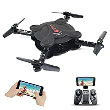 Hobbylane Folding Drone with FPV Camera Live Video, Altitude Hold Flexible Foldable Aerofoils Quadcopter with Remote Controller, 3D Flips UAV Gravity Sensor RTF Helicopter Toys for Adults (Black)
