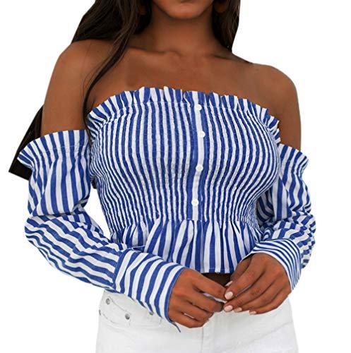 Bateau T avec et Longues Fashion Chemisier Bleu Tops Automne Col Femme Tee Plisse Manches Blouses Bouton Sexy Blouse Printemps Shirt Shirts Haut Raye wp8qIxCxO