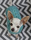 Rustic Dog Puppy Sweater XXS/XS 2 1/2 to 4 Lbs in Blue Tweed with Cable for Chihuahua Yorkie Pomeranian Maltese Toy Teacup Breed