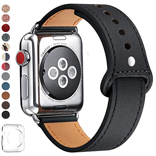 LOVLEOP Bands Compatible with Apple Watch Band 40mm 38mm 44mm 42mm, Top Grain Leather Strap for iWatch Series 4 Series 3 Series 2 Series 1 (Black +Silver Connector, 42mm 44mm)