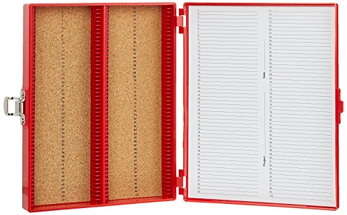 Heathrow Scientific HD15994C Red Cork Lined 100 Place Microscope Slide Box, 8.25″ Length x 7″ Width x 1.3″ Height