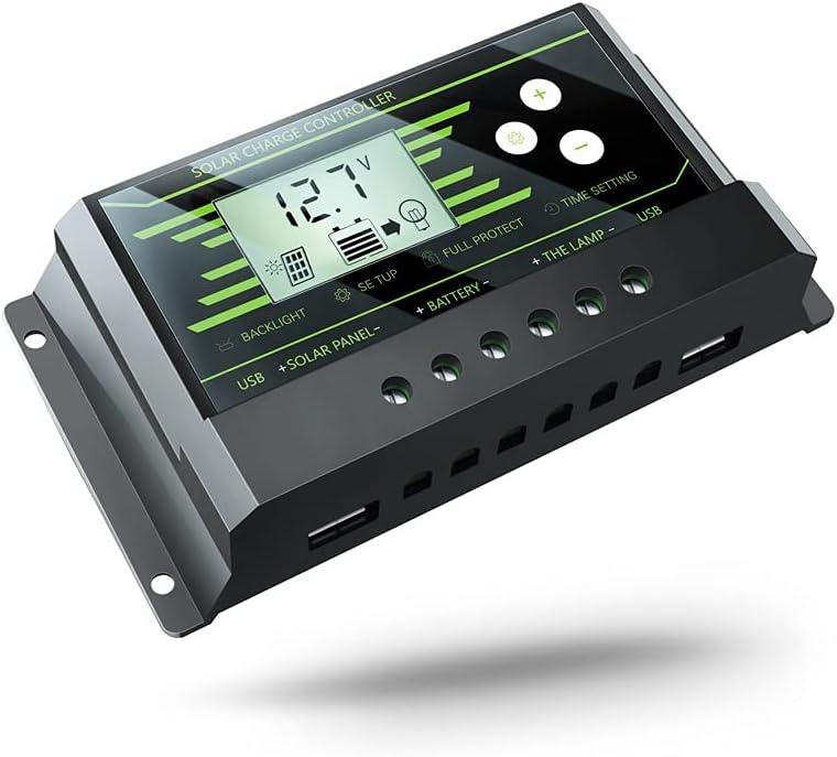 XiaoG Controlador Solar 30A, 12V / 24V Dual USB, PWM Street Light Controlador de Carga Inteligente (Color : Z30)