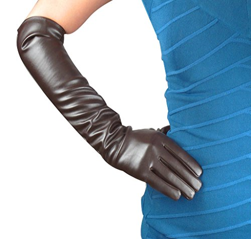 Edith qi Women's Long Evening Dress Faux Leather Elbow Length Party Gloves