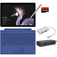 2017 New Surface Pro Bundle ( 6 Items ): Core i5 4GB RAM 128GB Tablet, Surface Dock, Surface Type Cover Blue (2016), Surface Pen Silver, 128GB Micro SD Card, Mini DisplayPort Adapter