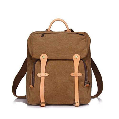 BAGEHUA 大容量レトロキャンバスメンズバッグは、メスの耐久性に優れた旅行バックパック、学生のファッションピクニックバックパック(幅 33 センチ、高さ 40 cm 、厚さ 17 cm ) B076K7C8SH Camel Camel
