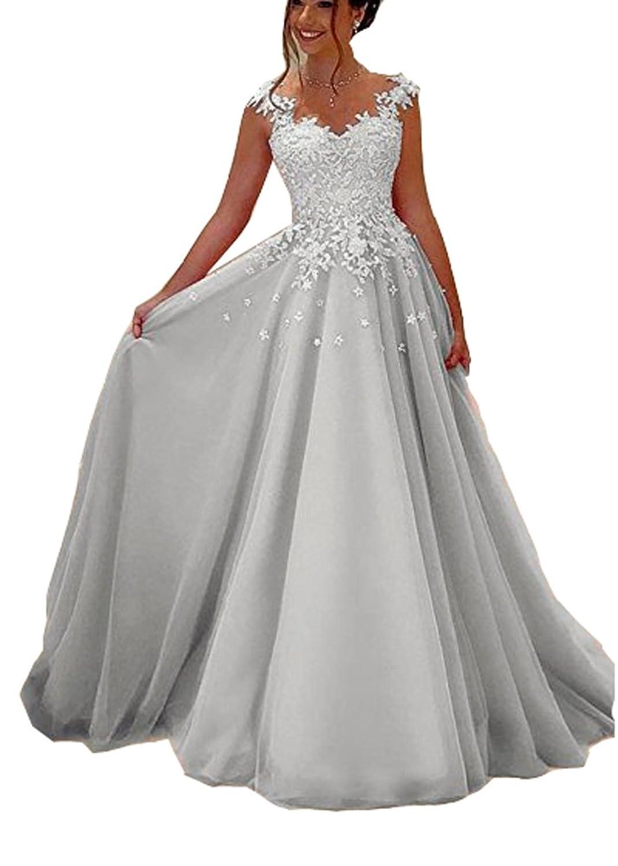 Cloverbridal Damen Rosa Grau Lange Prom Kleider Lace Appliques ...