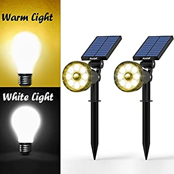 Solar Lights Outdoor Upgraded Motion Sensor With 8 White And 8Warm LED Solar  Spotlight Adjust Wall Light Landscape Security Lighting Auto On/Off For  Patio ...