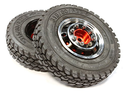 Integy RC Model Hop-ups C25590BLACK Alloy T4 Front Wheel & T1 Tire Set for Hex Type 1/14 Scale Tractor (Maxx Front Tire)