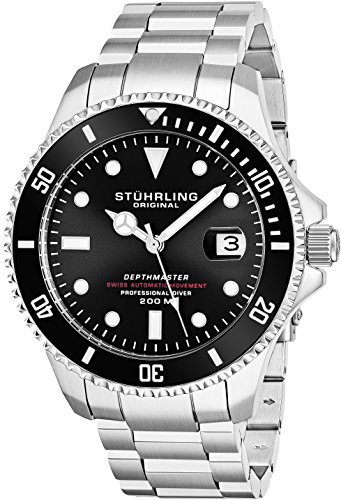 Professional 200 Meters - Mens Swiss Automatic Stainless Steel Professional DEPTHMASTER Dive Watch, 200 Meters Water Resistant, Brushed and Beveled Bracelet with Divers Safety Clasp and Screw Down Crown (Black)