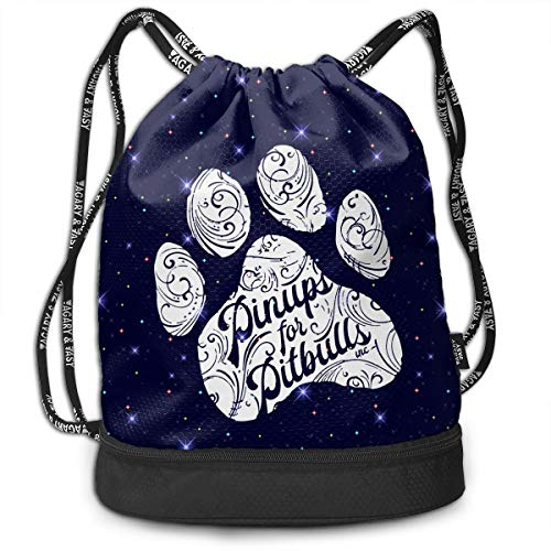 PITBULLS PAW PRINT Drawstring Bag Multifunctional String Backpack Custom Cinch Backpack Sport Gym Sack
