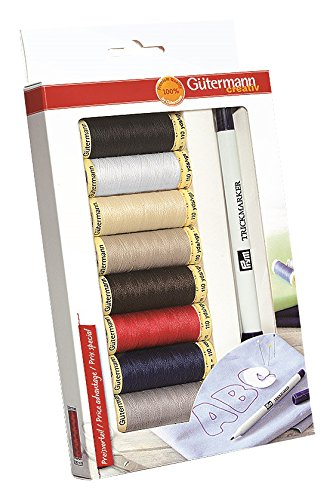 Gutermann sew-all thread set con pennarello lavabile,, 8 x 100 m 734571