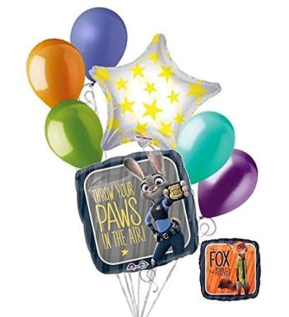 7 Pc Disney Zootopia Balloon Bouquet Party Decoration Happy Birthday Fox Judy
