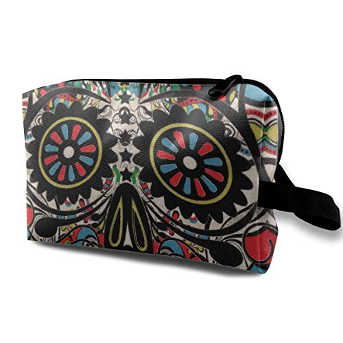 Halloween Sugar Skull Black Color Multi-function Travel Makeup Toiletry Coin Bag -