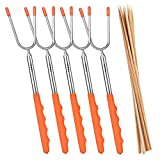 MaMix Marshmallow Roasting Sticks 5 Pack ,Telescoping Rotating Forks,45'' Extendable for Kids Camping Campfire Fire Pit ,Hot Dog Smores Forks, Free 10 Bamboo Skewers and Bonus Pouch