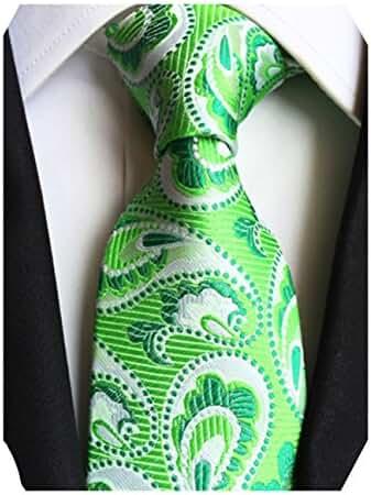 MENDENG Classic Green Paisley Floral Jacquard Woven Silk Men's Tie Party Necktie
