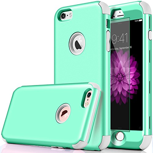 iPhone 6 Case, DUDETOP 3-in-1 Shockproof Scratch-Resistant Resist Cracking Armor Protective Cover Easy Grip Design with Tempered Glass Screen Protector for Apple iPhone 6s 4.7 Inch (Turquoise)