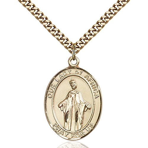 Custom Engraved Gold Filled Our Lady of Africa Pendant 1 x 3/4 inches with Heavy Curb Chain by Bonyak Jewelry