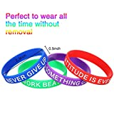 Gejoy Motivational Silicone Wristbands Multicolored Rubber Bracelets Stretch Bracelets with Inspirational Messages, 8 Styles