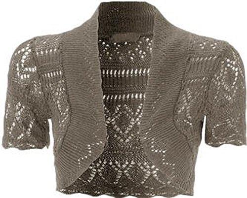 Ladies 36 Charbon bois Top Bolero tricot Crochet 42 de Cardigans Shrug Momofashions dwOp0d