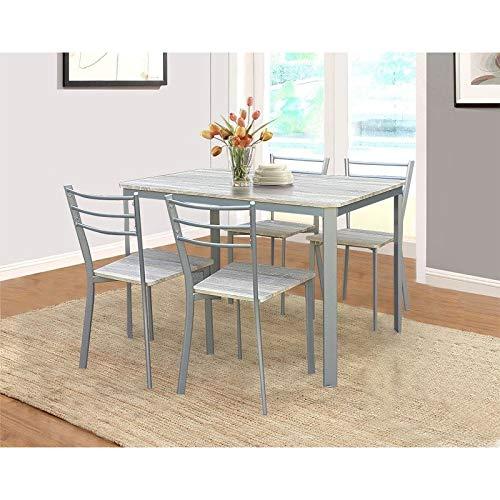 Mesa de cocina y comedor + 4 sillas ATHENES gris y Sonoma.: Amazon ...