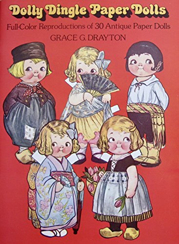 DOLLY DINGLE PAPER DOLLS BOOK (UNCUT) w Full COLOR Reproduction of 30 ANTIQUE DOLLS, Cradle, 100+ OUTFITS & MORE (Card Stock) by Grace Drayton (1978 Dover)