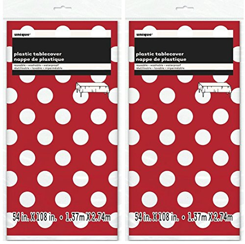 2 Pack Polka Dot Plastic Tablecloth, 108 x 54, Red with White -