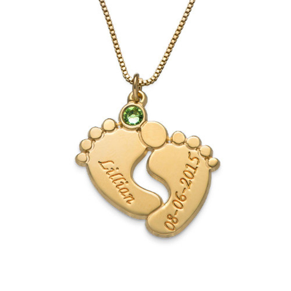 Yandam Baby Footprints Carved Necklace Custom Name and Birth Stone Necklace Gift Rose-Gold-Plated-Base 20