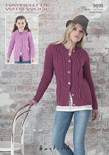 70c699e37992 Sirdar Ladies Girls Hayfield DK with Wool Cardigans Knitting Pattern 9898   Amazon.co.uk  Kitchen   Home
