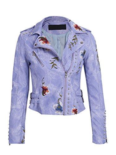 Womens Purple Leather Jacket - 2