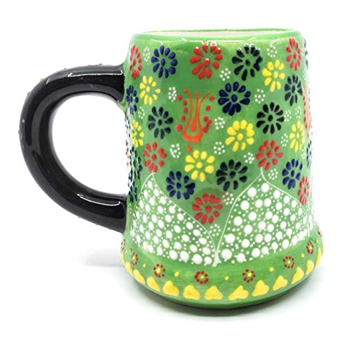Handmade Turkish Traditional Pottery Beer Stein Style Mug (Green) ()