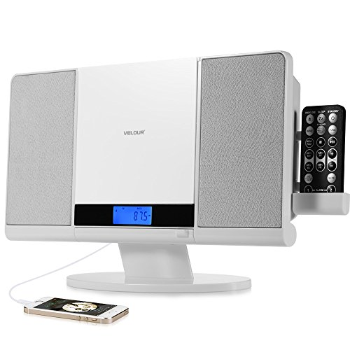 VELOUR Stereo System Slim Boombox with CD Player USB SD FM Radio Clock Aux-In and Headphone Jack White (Boombox Cd Player White)