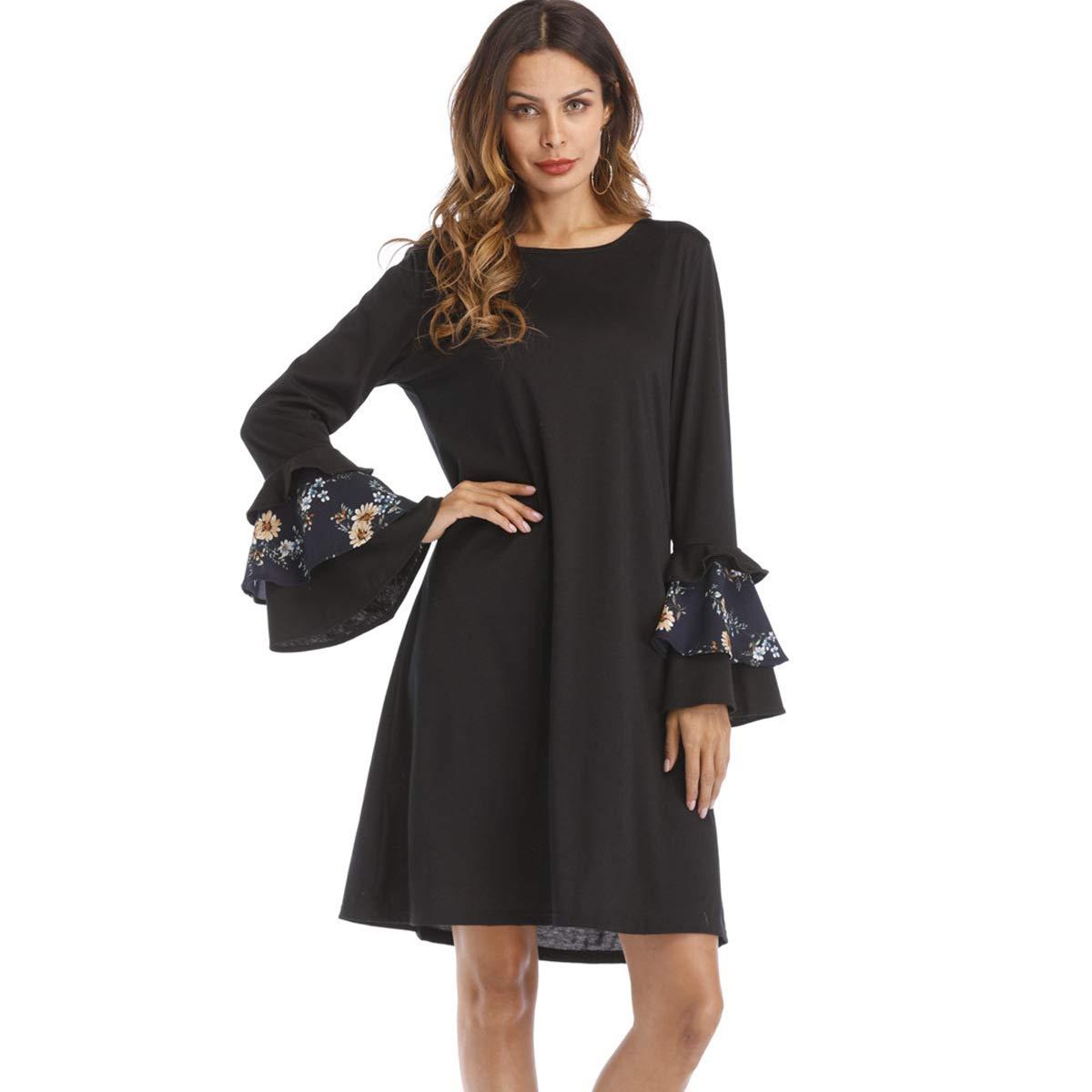 f1a9bc4a683 Amazon.com : Women's Long Sleeve Tunic Dress Swing Shift Dresses T-Shirt  Loose Swing Dress : Sports & Outdoors