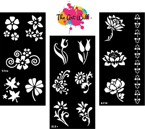 photo about Printable Henna Stencils named 3 within just 1 HENNA STICKERS TATTOO Entire body Artwork/ MEHNDI STENCILS