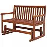 Clever Market Patio Furniture Outdoor Bench Solid Patio Acacia Wood Glide Porch Swing Sturdy Bench
