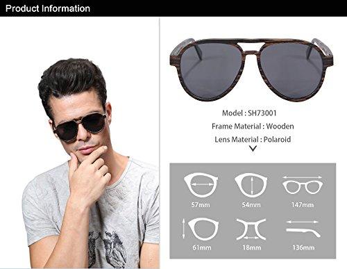 Hommes pour de SH73001 de les SHINU Lunettes Bois Soleil Véritable Sunglasses Polarisées Pilote gris Ébène 7waWS7041q