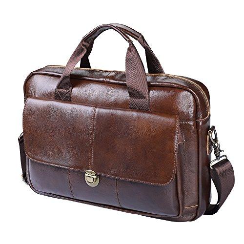 Men's Briefcase TECOOL Genuine Leather Laptop Business Shoulder Bag Messenger (Mens Briefcase)