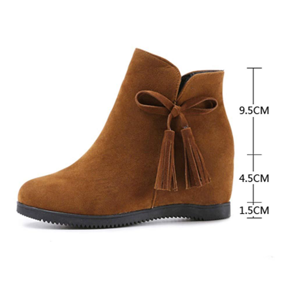 b9d49e545 ZARLLE Botas ZARLLE Moda Botas para Mujer OtoñO Invierno Calzado De Dama  Terciopelo Botines Planos Bajos Zapatos con Borlas Negras Talla Grande Botas  ...