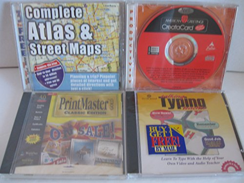 Atlas Pc (Bundle of 4 each PC games, talking typing teacher, creatacard, printmaster, atlas & street maps)