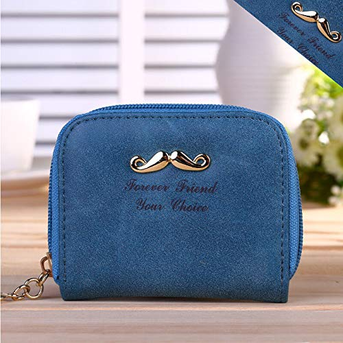 New Women Fashion Little Mustache Frosted PU Leather Wallet Ladys Handbag Bag (Color - Dark Blue) - Clamp Alum