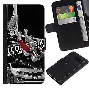 Malcom Contraataca Baloncesto - la tarjeta de Crédito Slots PU Funda de cuero Monedero caso cubierta de piel Para Samsung Galaxy S6