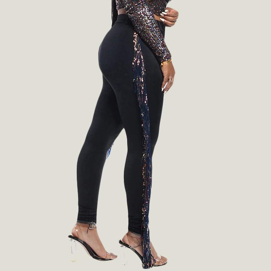 Women Patchwork Pants Stylish Solid Side Tassel High Waist Zip Skinny Slim Pencil Pants Long Bottoms Nightclub Prom Party Trousers Clubwear