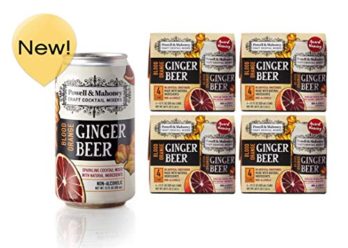 Powell & Mahoney Craft Cocktail Mixers Blood Orange Ginger Beer, 12 Ounce Cans (16 Pack) Sparkling Non Alcoholic Craft Cocktail Mixer w/Natural Ingredients Sweetened w/Cane Sugar and Ginger Juice