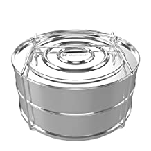 ekovana Stainless Steel Pressure Cooker Steamer Insert Container with lid